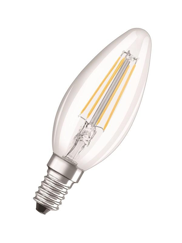 Osram LED pære Kerte 6W/827 (60W) filament klar E14