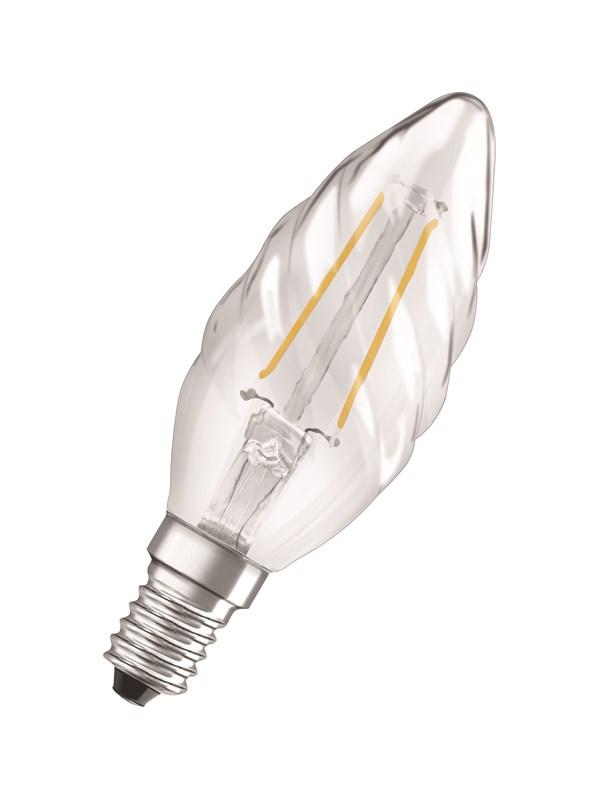 Osram LED pære Kerte snoet 2,5W/827 (25W) filament klar E14