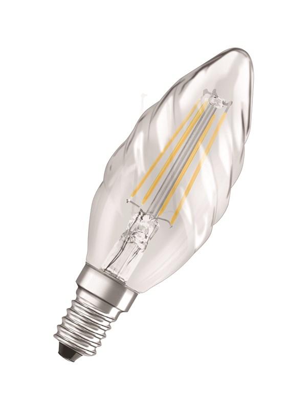 Osram LED pære Kerte snoet 4W/827 (40W) filament klar E14