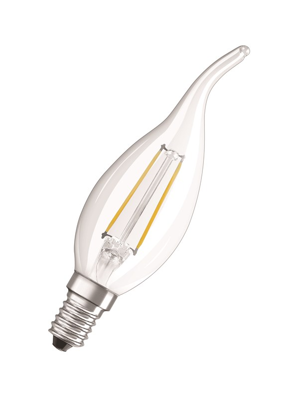 Osram LED pære Kerte vindstød 2,5W/827 (25W) filament klar E14