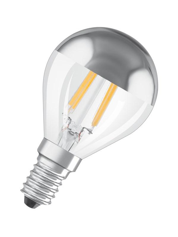 Osram LED pære Krone 4W/827 (34W) filament klar topforspejlet sølv E14