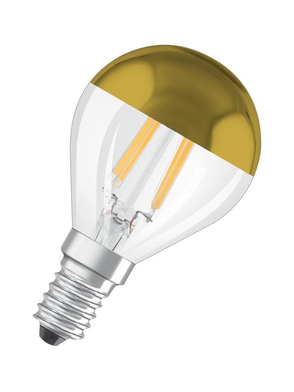 Osram LED pære Krone 4W/827 (37W) filament klar topforspejlet guld E14
