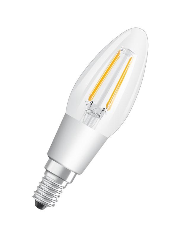 Osram LED pære STAR+ GLOWdim kerte 4,5W/827 (40W) filament klar dæmpbar E14