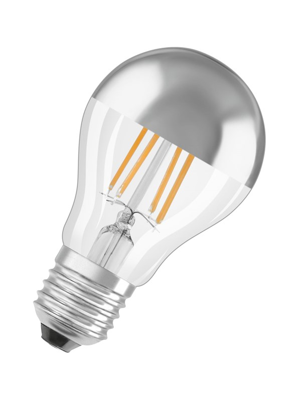 Osram LED pære Standard 6,5W/827 (50W) filament klar topforspejlet sølv E27