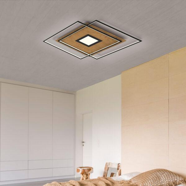 Paul Neuhaus Q-AMIRA LED-loftlampe, trælook
