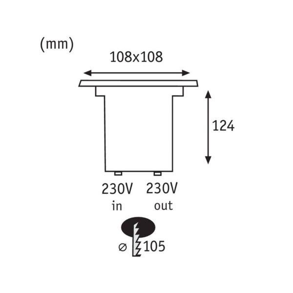 Paulmann 93993 LED-nedgravningslampe, kantet