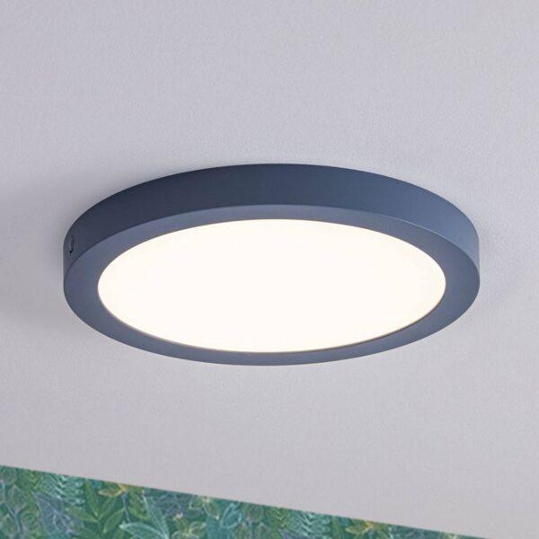 Paulmann Abia LED-panel, rundt Ø 30 cm, gråblåt