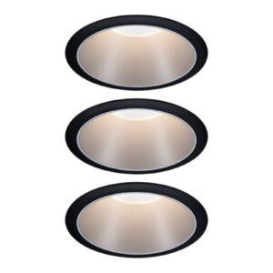 Paulmann Cole LED-spotlight, sølv-sort, 3 stk.