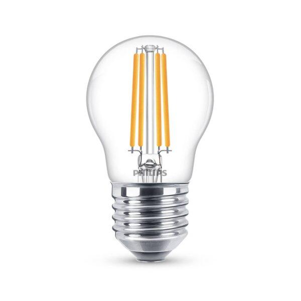 Philips Classic LED-pære E27 P45 6,5W 2.700K, klar