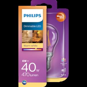 Philips Classic WarmGlow LED-glødepære E14 8718699646080
