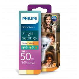 Philips LED 50W Spot GU10 sceneswitch varm hvid 3 skift 1 stk - 8718696710937
