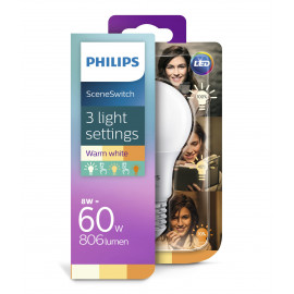 Philips LED 60W SceneSwitch standard varm hvid mat 3 skift E27 1 stk - 8718696588840