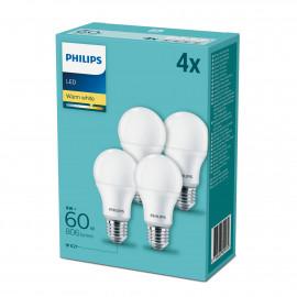 Philips LED 60W Standard E27 Varm hvid forsted 4-discount stkke - 8718696829974