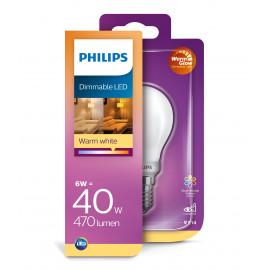 Philips LED Glas krone 40W E14 warm glow mat dæmpbar 1 stk - 8718699697235