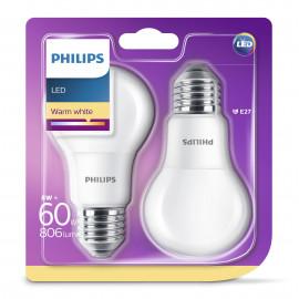 Philips LED Plast 60W standard varm hvid mat E27 ikke dæmpbar 2 stk - 8718696576830
