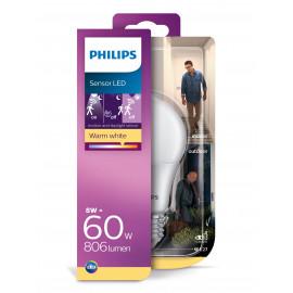 Philips LED Sensor 60W standard E27 varm hvid mat ikke dæmpbar 1 stk - 8718699659981