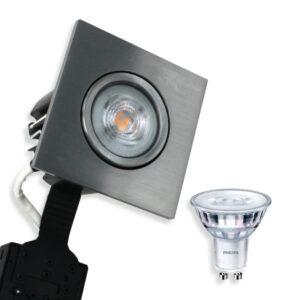 Philips LED Spot Firkant. Børstet Alu. Quick UNI Install (Dæmpbar)