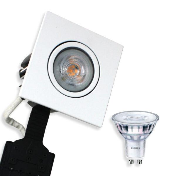 Philips LED Spot Firkant. Mat. Hvid Quick UNI Install (Dæmpbar)