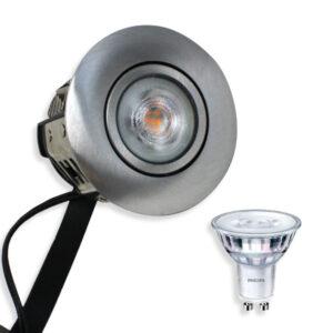 Philips LED Spot Rustfri Børst. Stål. Punto Gu10 230V (Dæmpbar)