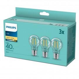 Philips LED classic 40W Standard E27 Varm hvid klar 3-discount stkke - 8718699777753