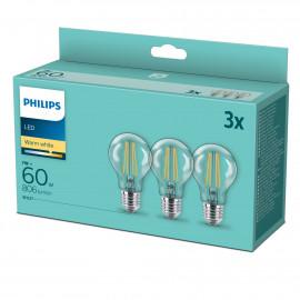 Philips LED classic 60W Standard E27 Varm hvid klar 3-discount stkke - 8718699777777
