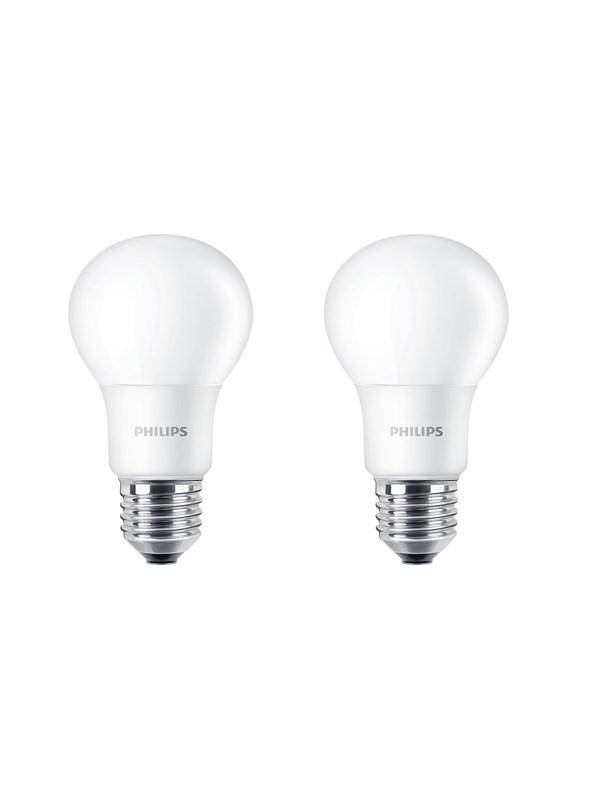 Philips LED pære Standard 8W/827 (60W) mat 2-pak E27