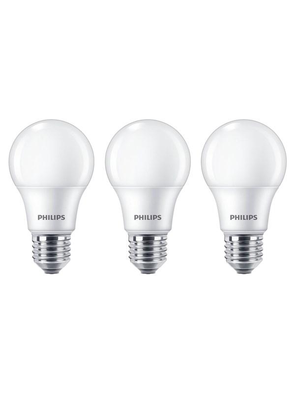 Philips LED pære Standard 8W/827 (60W) mat 3-pak E27