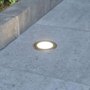 Rund LED nedgravningslampe Doris, rustfrit stål