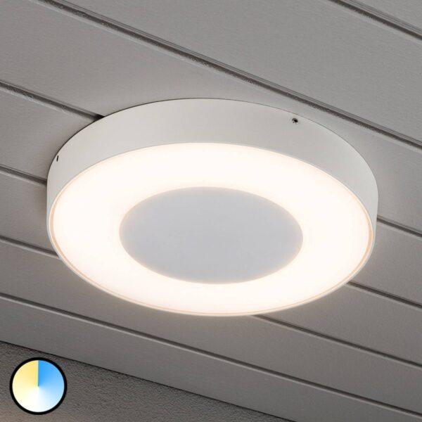Rund LED udendørs loftlampe Carrara i hvid