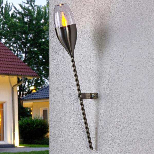 Solcellevæglampe Jari med flakkende LED