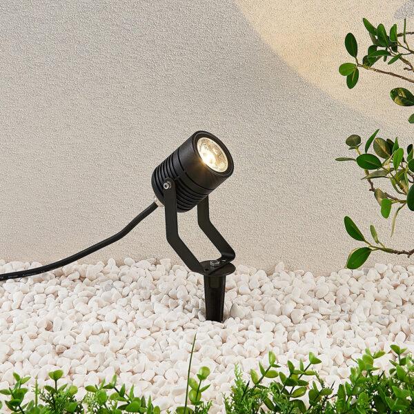 Sort udendørs LED-spot Maris med jordspyd