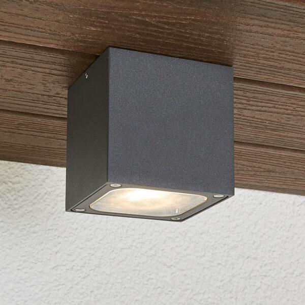 Terningformet LED udendørs loftlampe Tanea, IP54