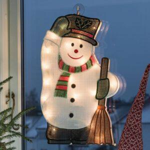 Til indendørs brug - LED vinduesbillede Snemand