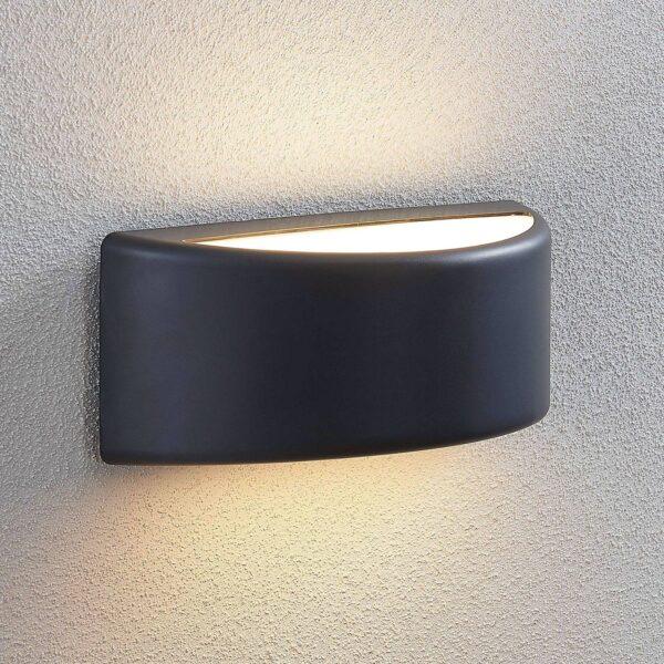 Udendørs LED-væglampe Alaiza, IP65, halvrund