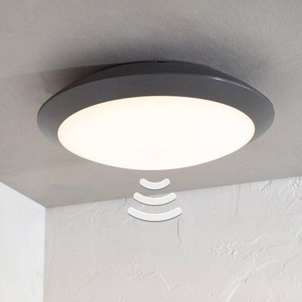 Udendørs loftlampe Naira med LED, grå, med sensor