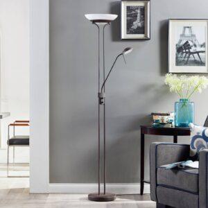 Yveta - rustfarvet LED uplight-lampe med lysdæmper